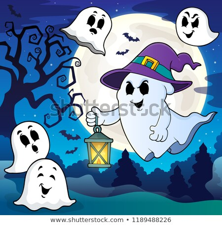 Ghost with hat and lantern theme 8 vector illustration
