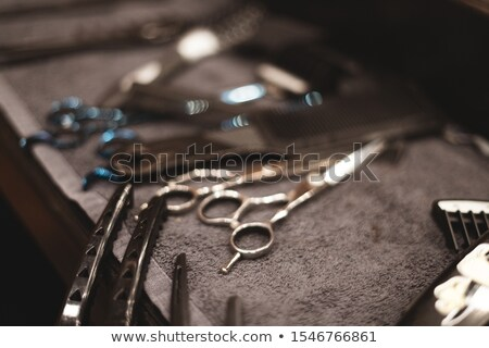 Shaving brush and set of barber tools in salon Stock photo © Kzenon