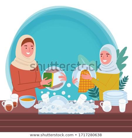 мусульманских женщину мытье посуды иллюстрация женщины Cartoon Сток-фото © artisticco