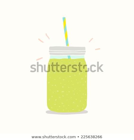 Green Smoothie Mason Jar Illustration Stock photo © lenm