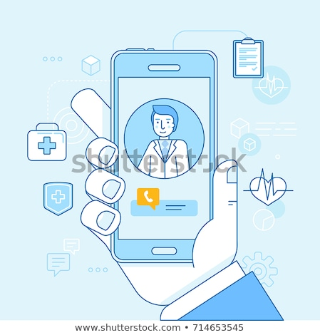 healthcare mobile app   colorful line design style vector illustration stock photo © decorwithme