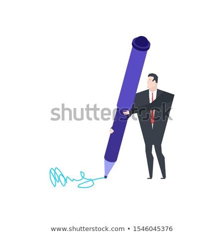 мало бизнесмен большой пер написать подписи Сток-фото © MaryValery