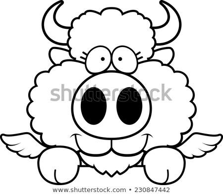 Cartoon buffalo wings illustratie jonge top vector Stockfoto © cthoman