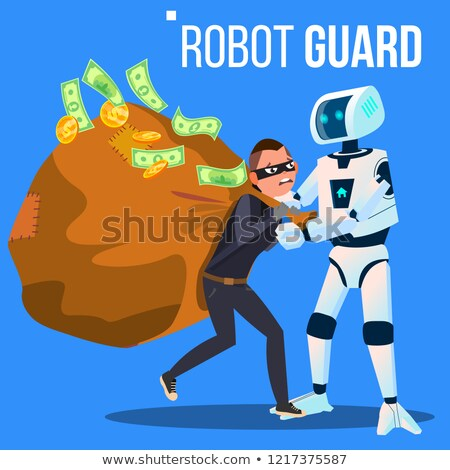 robot guard caught the thief in mask with his hand vector isolated illustration stock photo © pikepicture