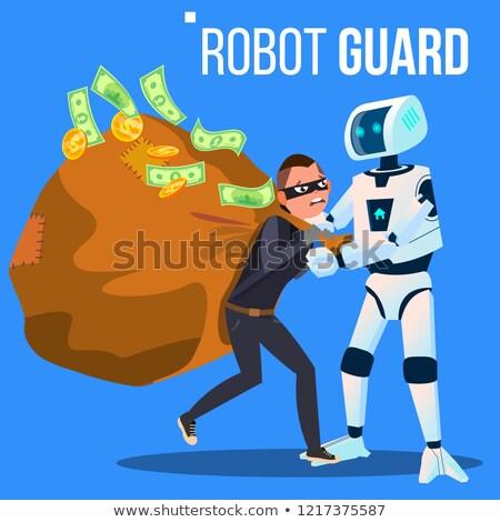Robot bekçi hırsız maske el vektör Stok fotoğraf © pikepicture