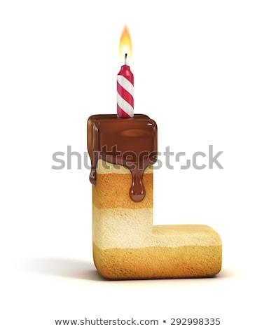 Cartoon letter l verjaardag illustratie kaars confetti Stockfoto © cthoman