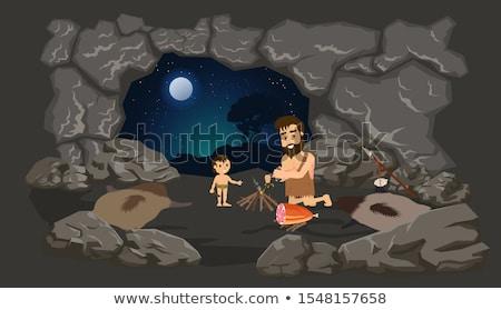 cartoon · jaskiniowiec · strony · człowiek · projektu · sztuki - zdjęcia stock © cthoman