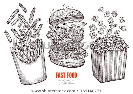 Hamburger patates kızartması et salata yaprakları Stok fotoğraf © robuart
