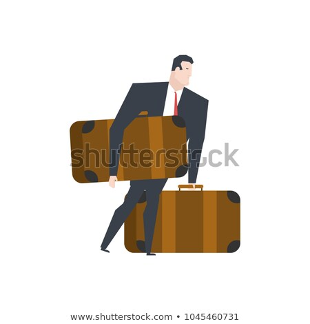 Businessman and big suitcases. Boss moving. office life vector i Stock photo © MaryValery