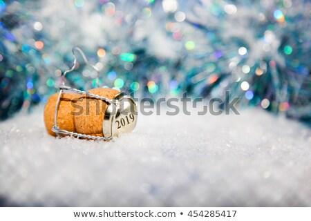 Szampana korka uroczystości miniatura ludzi wspinaczki Zdjęcia stock © unikpix