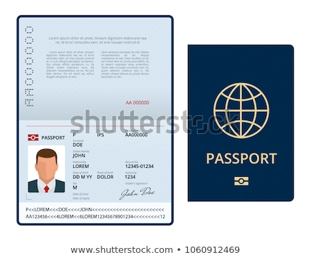 Opened international passport template with blue cover Stock photo © MarySan
