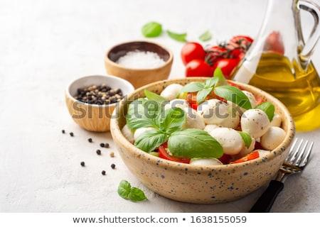 Caprese saláta paradicsomok bazsalikom mozzarella felső kilátás Stock fotó © karandaev