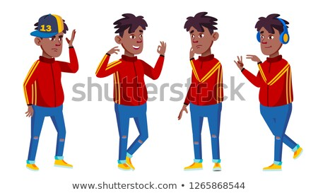 boy poses set vector black afro american school student headphones expression happy childhood stock photo © pikepicture