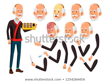 asian old man vector senior person aged elderly people funny friendship face emotions various stock photo © pikepicture