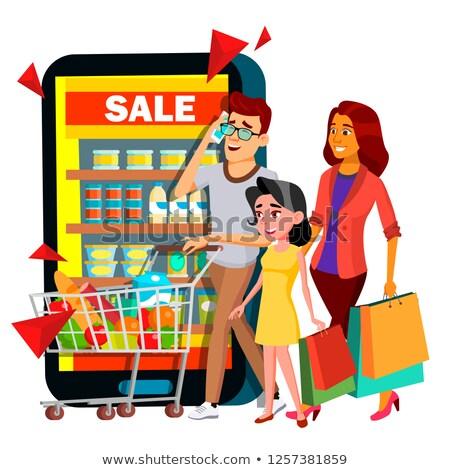 online · vásárlás · vektor · anya · apa · gyermek · vásárlás - stock fotó © pikepicture