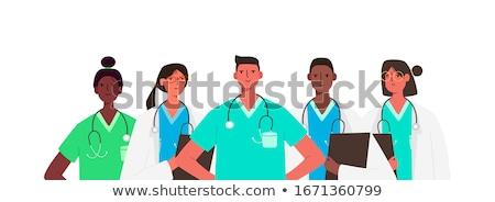 Médicos trabajador establecer mujer estetoscopio mirando Foto stock © robuart