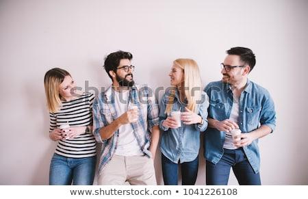 üzletasszony papírok italok kávé iroda üzletemberek Stock fotó © dolgachov