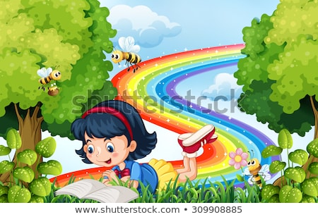 Happy people in park with rainbow in background stock photo © colematt