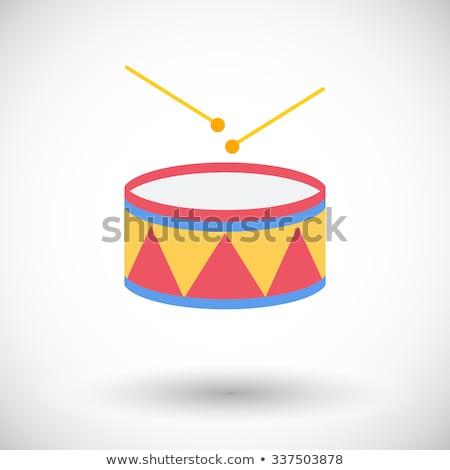 drum vector children toy rhythm symbol music instrument isolated flat cartoon illustration stock photo © pikepicture