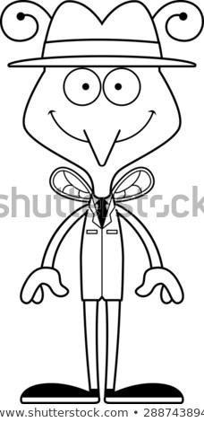 Karikatür gülen dedektif sivrisinek mutlu grafik Stok fotoğraf © cthoman