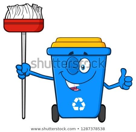 Kacsintás kék újrahasznosít tároló rajzfilm kabala karakter Stock fotó © hittoon