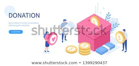 Adomány vektor izometrikus illusztráció önkéntesek pénz Stock fotó © RAStudio