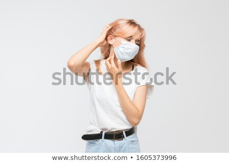 girl with rash on face skin problem by sickness stock photo © robuart
