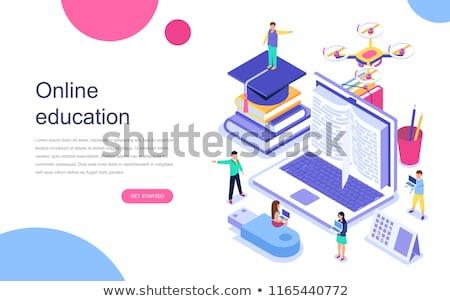 digitális · oktatás · izometrikus · 3d · illusztráció · online · tabletta - stock fotó © rastudio