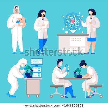 Mad lekarza pracy kliniki medycznych krwi Zdjęcia stock © Elnur