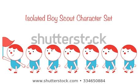 Fiú felderítő játék csomag illusztráció háttér Stock fotó © bluering