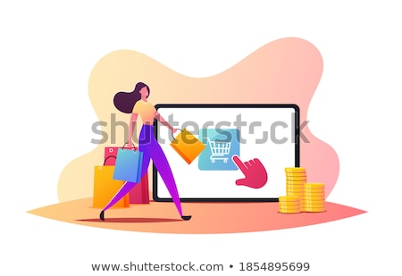 Female Shopaholic Bags Walking from Store Vector Stock photo © robuart