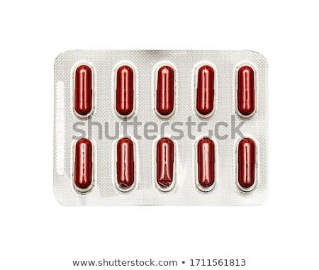 witte · Rood · pillen · geïsoleerd · macro - stockfoto © denismart