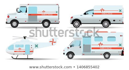 white and red ambulance helicopter and car medical services concept transport vector illustration stock photo © marysan