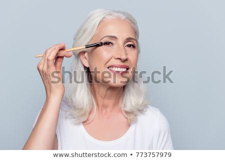 Foto stock: Bela · mulher · make-up · penteado · cinza · estúdio · retrato