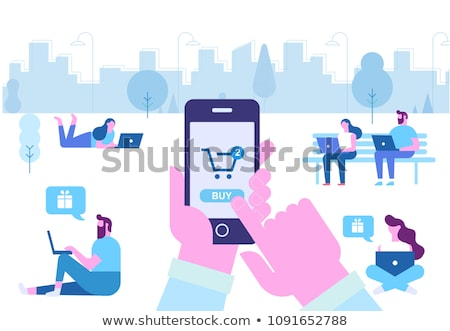 Man with smartphone doing online shopping Stock photo © jossdiim