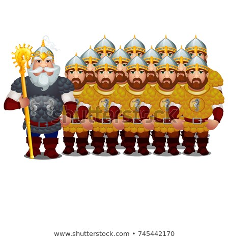 Commander with army of epic heroes of Russian folklore and folk tales isolated on white background.  Stock photo © Lady-Luck