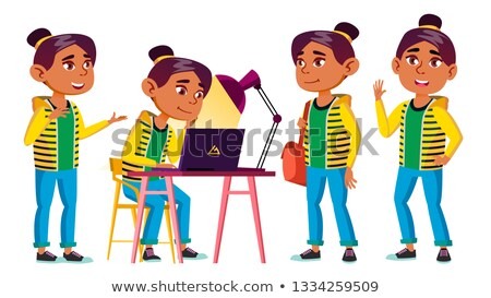 Arab, Muslim Girl Kid Poses Set Vector. High School Child. School Student. Cheer, Pretty, Youth. For Stock photo © pikepicture