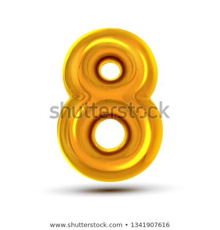 8 Eight Number Vector. Golden Yellow Metal Letter Figure. Digit 8. Numeric Character. Alphabet Typog Stock photo © pikepicture
