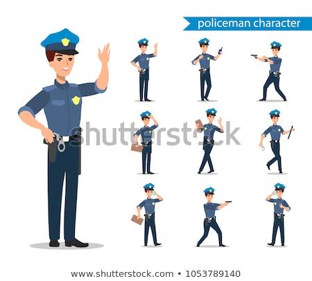 Rendőr karakter szett teljes alakos tiszt különböző Stock fotó © bonnie_cocos