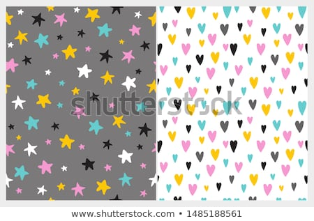 Cute vector seamless pattern with yellow, gray and pink stars on white background  Stock photo © Pravokrugulnik