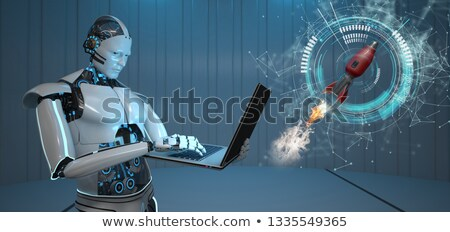 Humanoid Robot Notebook Rocket Stock photo © limbi007