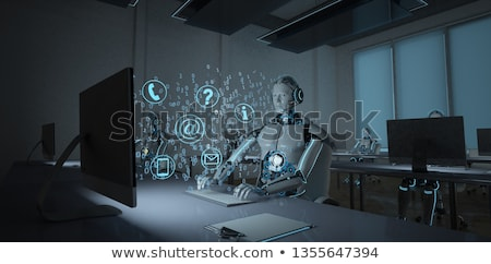 Foto stock: Humanoide · robot · datos · centro · de · llamadas · 3d