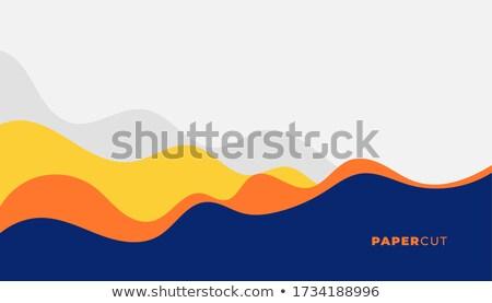 stylish papercut yellow and blue layers background Stock photo © SArts