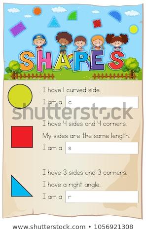Foto stock: Matemáticas · plantilla · formas · ilustración · ninos · estudiante