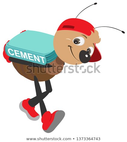 Ant worker carries bag cement. Vector cartoon illustration Stock photo © orensila