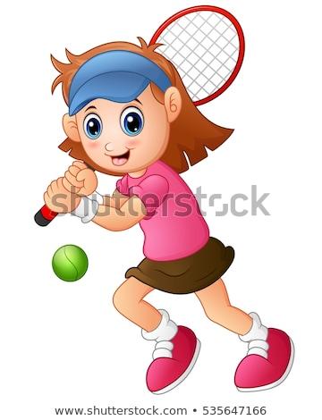 Tenisz lány karakter illusztráció nő sport Stock fotó © colematt