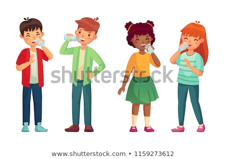 Thirsty Characters Children Drink Water Vector Stock photo © pikepicture