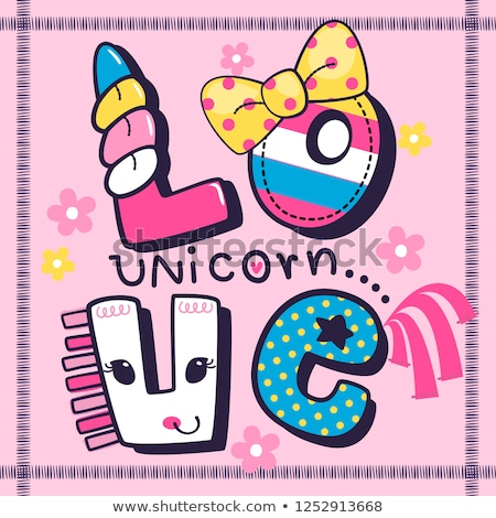 cute unicorn template frame stock photo © bluering