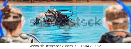 Diving istruttore studenti immersione banner lungo Foto d'archivio © galitskaya