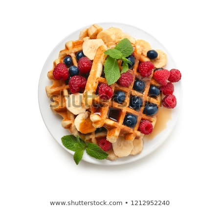 Breakfast With Waffles And Organic Fruits Stock photo © mpessaris